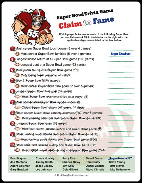 Super Bowl Trivia Multiple Choice Printable Game Updated Jan 2019