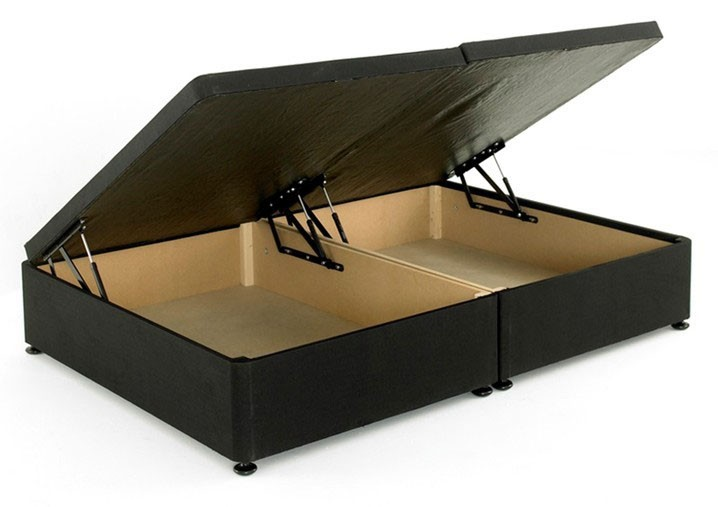 Regent Black 4ft Small Double Ottoman Storage Divan Bed