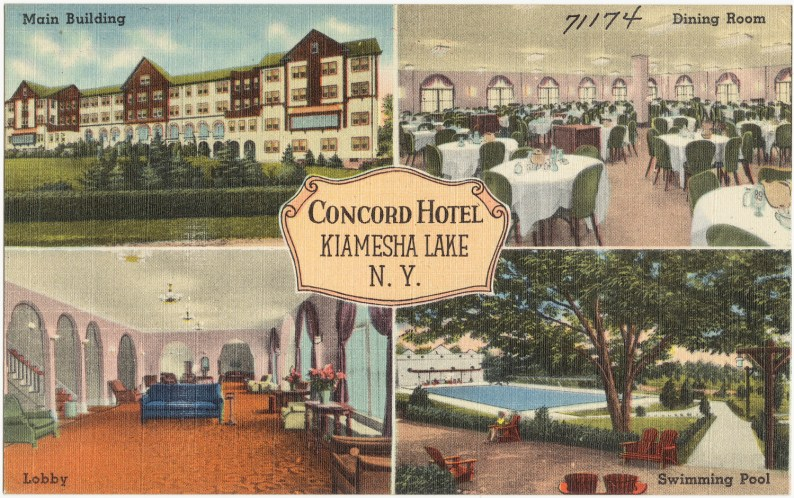 A postcard from the Concord Hotel, one of the prominent Borscht Belt resorts, from the 1930s or 1940s./Boston Public Library/flickr-CC