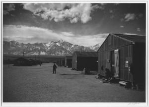 Manzanar street scene, winter, Manzanar Relocation Center / photograph by Ansel Adams (Library of Congress)