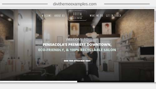 A 1 page Divi Theme website for Arrow hair Salon Downtown