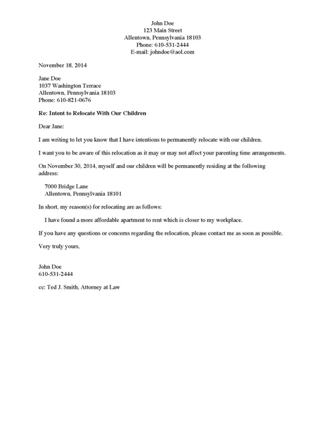 Divorce Source - Letter to Non-Custodial Parent of Intent to - child letter