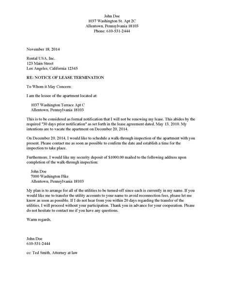 Divorce Source - Notice of Lease Termination - Apartment