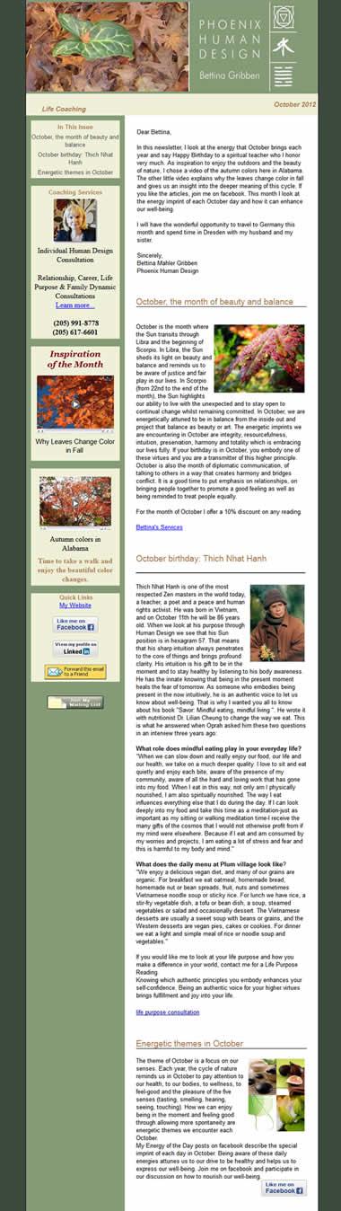 Phoenix Human Design newsletter