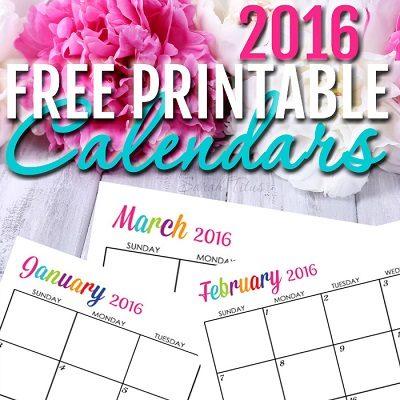 7 Free Printable Calendars 2016 - DIY Crush