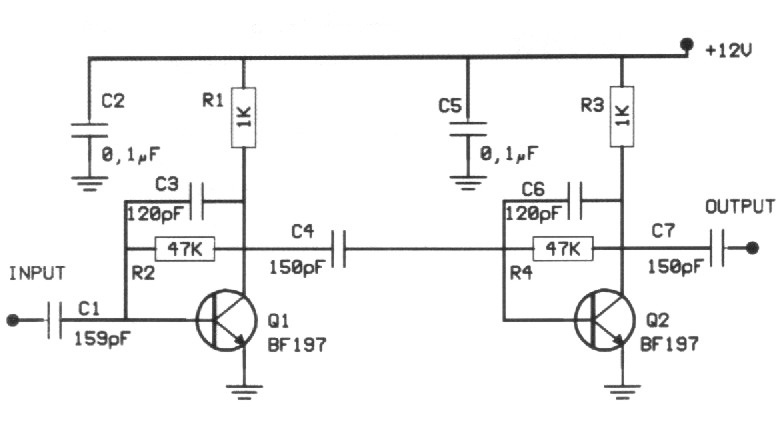 20dB VHF Amplifier - circuit diagrams, schematics, electronic projects