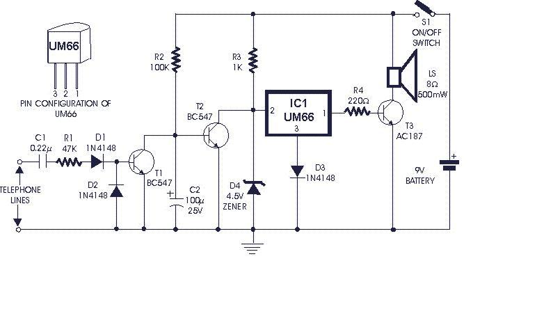 Soft Musical Telephone Ringer - circuit diagrams, schematics