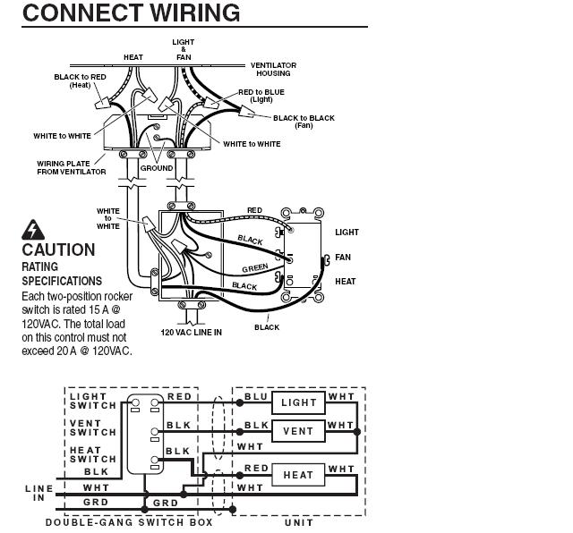 wiring diagram for bathroom heater fan light