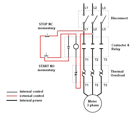 220v wiring diagram stop start
