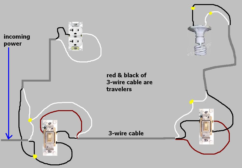 3 way switch receptacle wiring