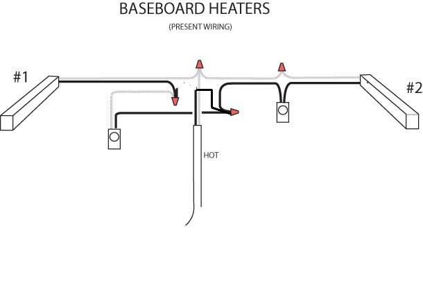 wiring diagram 2 baseboard heaters 1 thermostat
