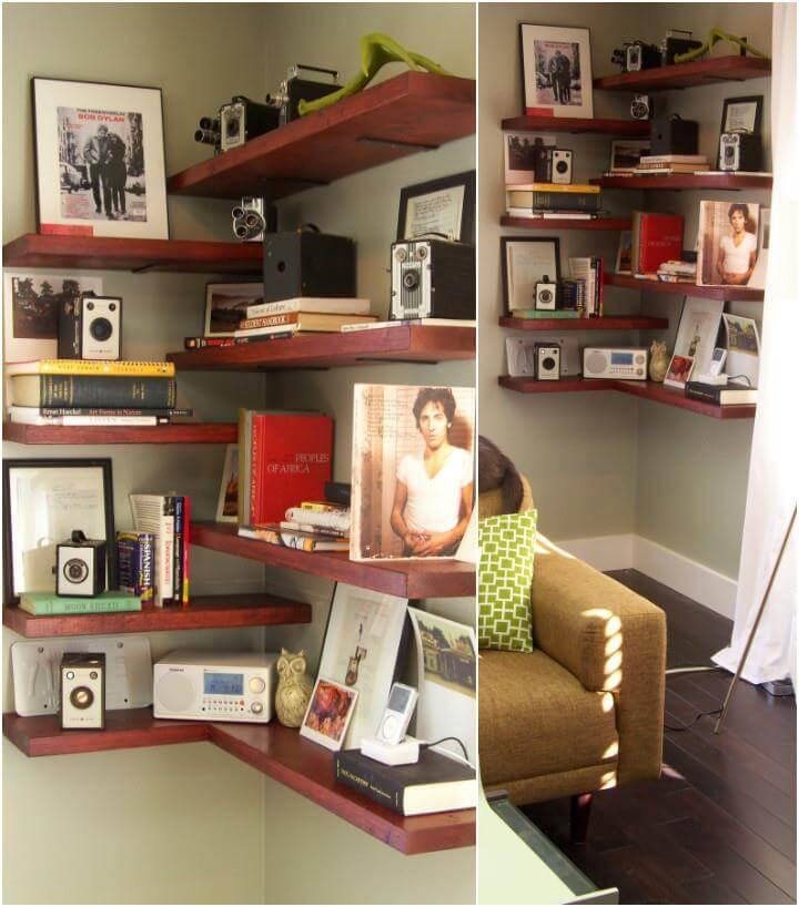 50 DIY Shelves - Build Your own Shelves - DIY \ Crafts - living room corner shelf