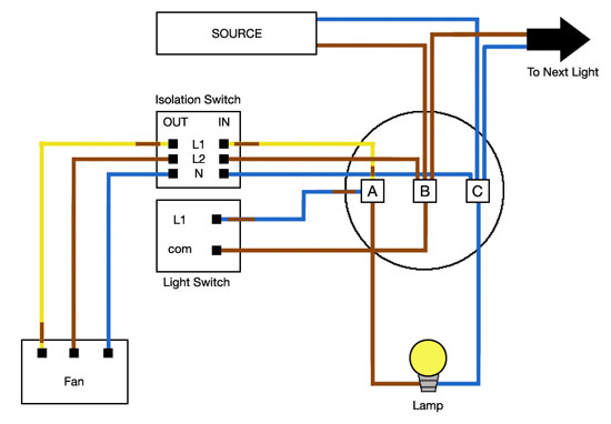 wiring diagram for a bathroom extractor fan
