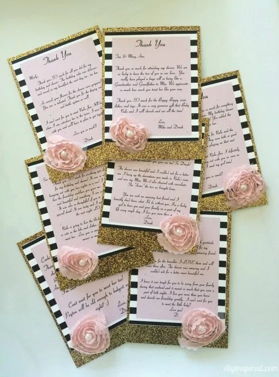 Gold Glitter Thank You Cards - DIY Inspired - make your own thank you cards