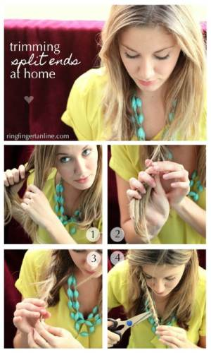 Easy Method for Getting Rid of Split Ends - 40 DIY Beauty Hacks That ...