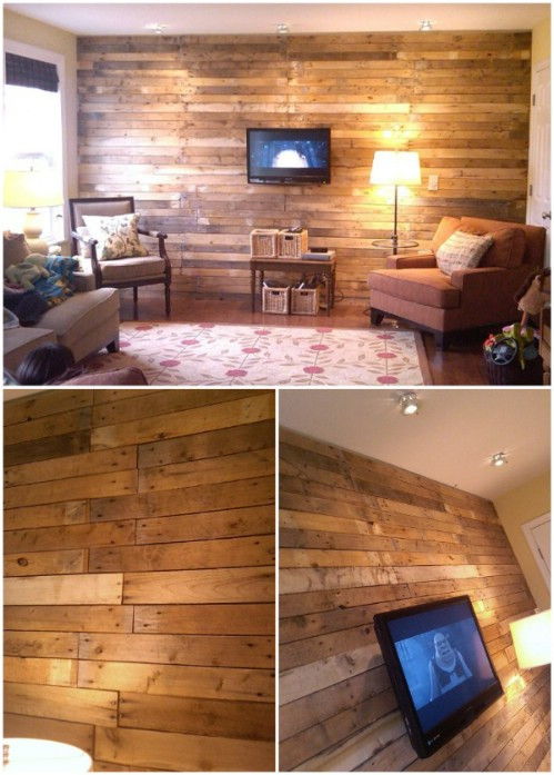 15 Creatively Genius DIY Wood Walls - DIY \ Crafts - wood wall living room