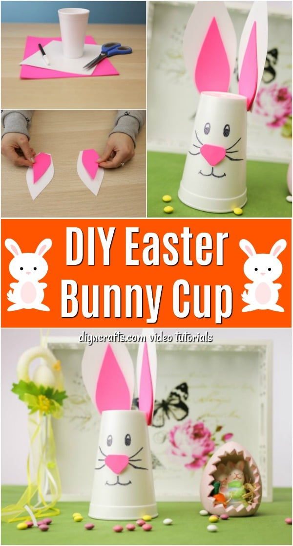 How to Make a Cute Easter Bunny Cup Decoration - DIY  Crafts