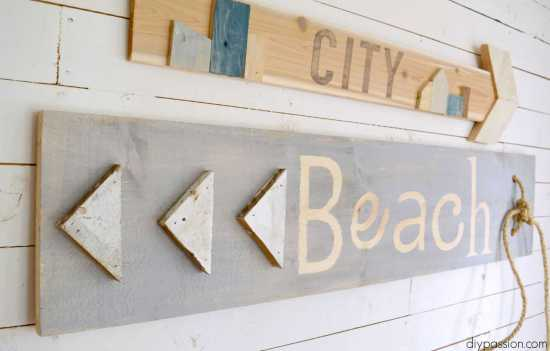 DIY Scrap Wood Signs Close Up Shot