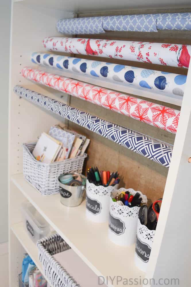 Turn a Small Space into Organized Wrapping Paper Storage!