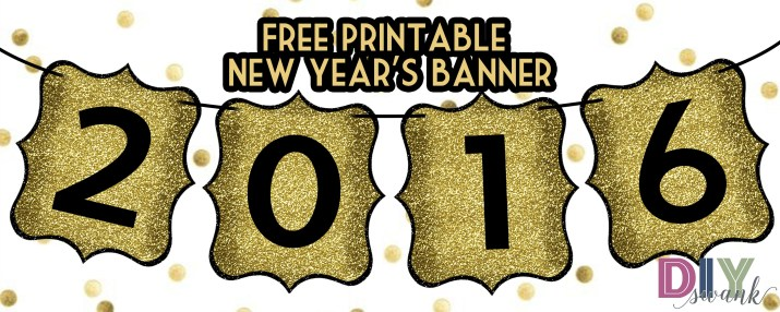 Happy New Year 2016 Free Printable Banner