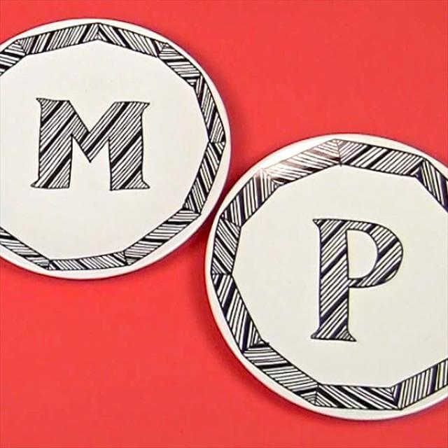 monogram dinner plates