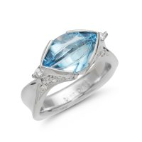 Aquamarine Platinum Ring IND1046 - deJonghe Original Jewelry