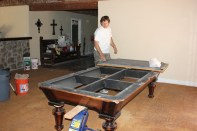 After we finished disassembling the pool table we can safely repair the broken legs.