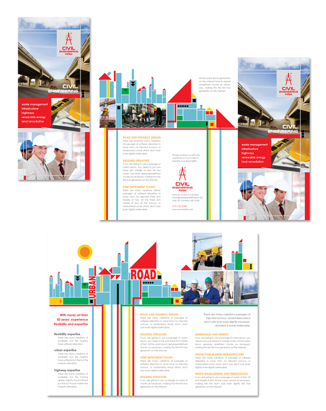 Civil Engineers Tri Fold Brochure Template - microsoft word tri fold brochure