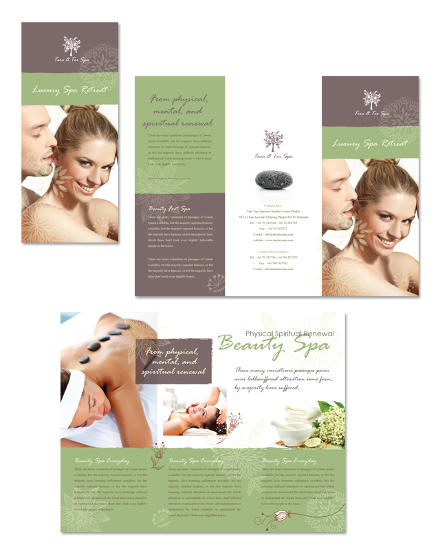 Spa Beauty Centre Tri Fold Brochure Template - spa brochure