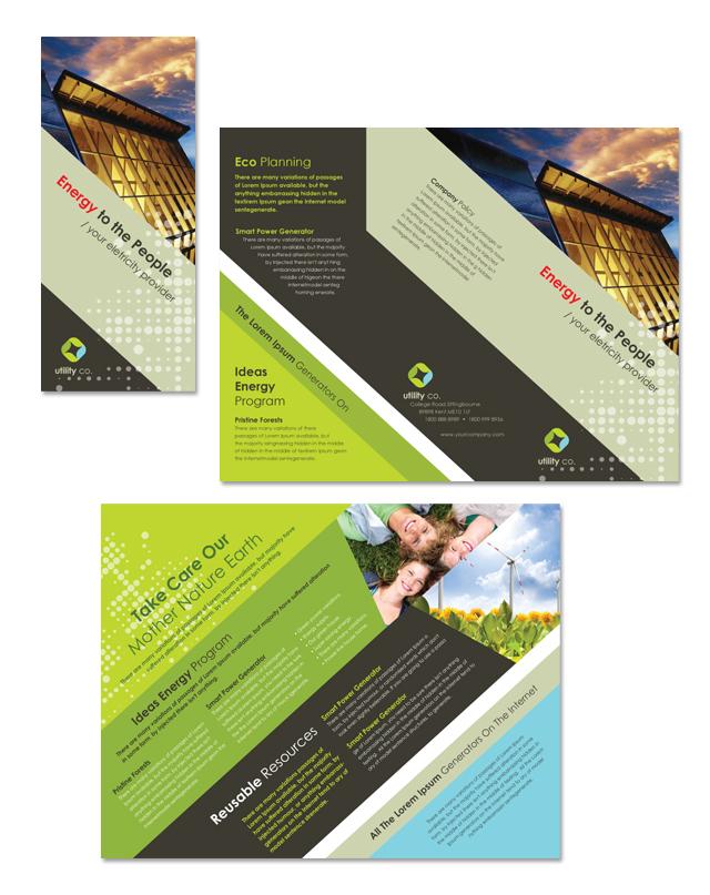 Utility  Energy Company Tri Fold Brochure Template