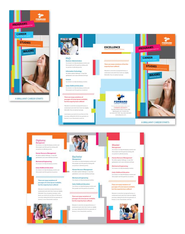 College \ University Tri Fold Brochure Template - microsoft word tri fold brochure