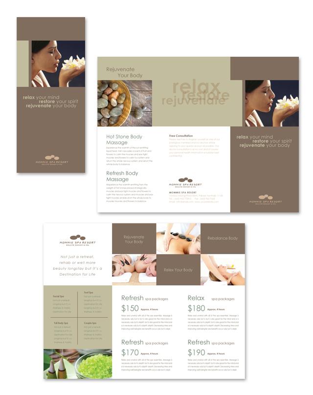 Wellness Spa Resort Tri Fold Brochure Template - dLayouts Graphic - spa brochure