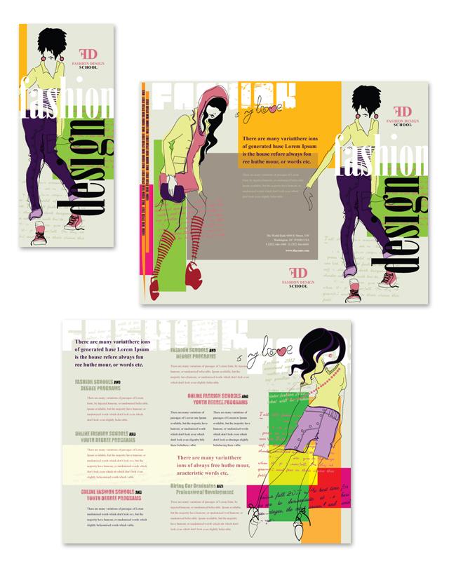 Fashion Design School Tri Fold Brochure Template