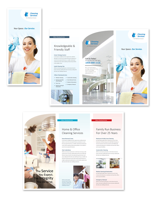 Cleaning \ Janitorial Services Tri Fold Brochure Template - services brochure