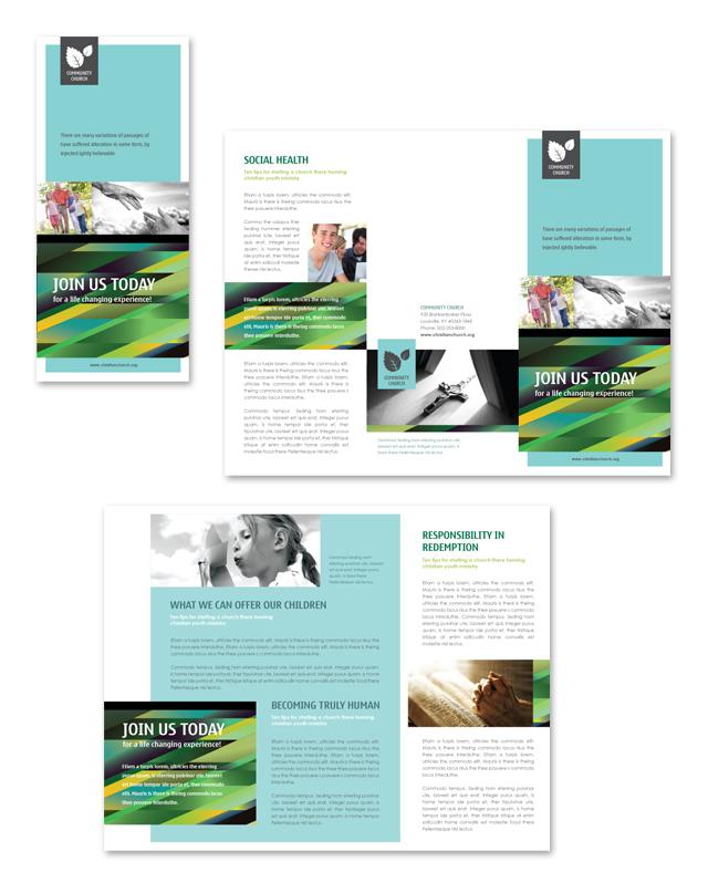 Christian Community Tri Fold Brochure Template - microsoft word tri fold brochure