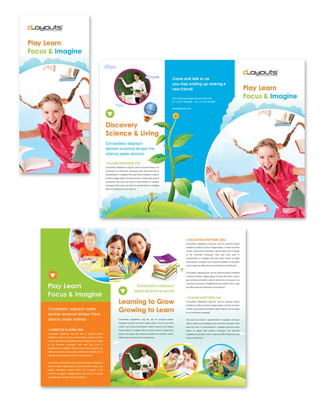 Child Education Center Tri Fold Brochure Template Design - pricing brochure template