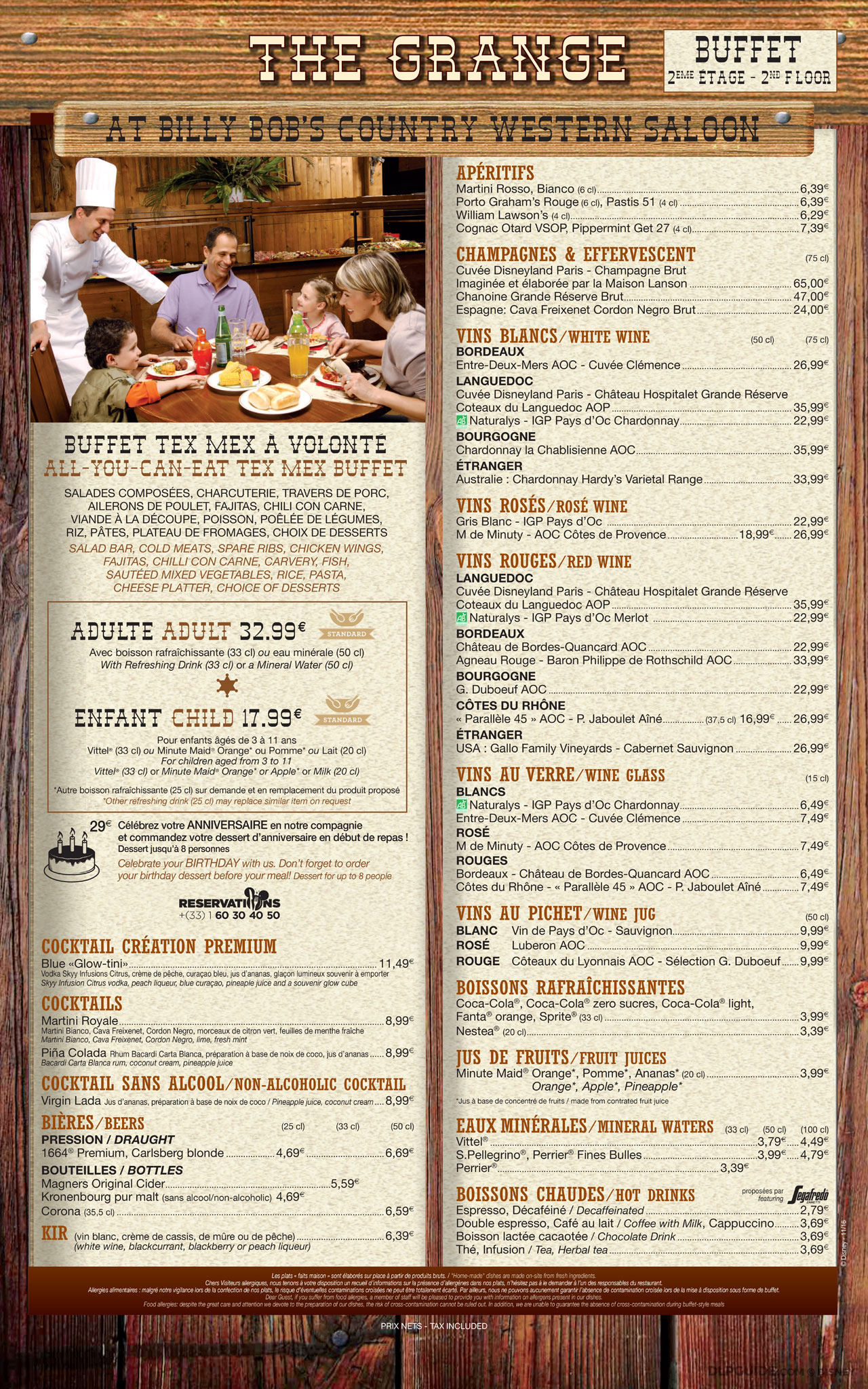 La Grange At Billy Bob S Menu Dlp Guide Disneyland