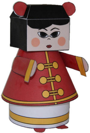 Chinese New Year Girl 3D Paper Model
