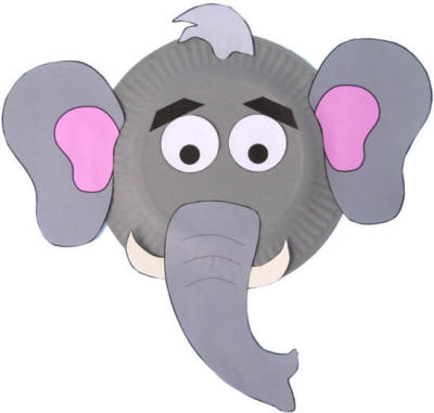 Paper Plate Elephant Craft - elephant cut out template