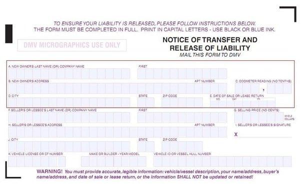 Release of Liability - DMV Reg 138 - Transfer Car Title