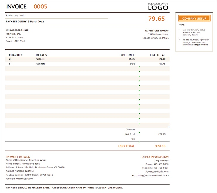 Free Invoice Template - Best Templates for Excel, PDF  Word - invoice templates