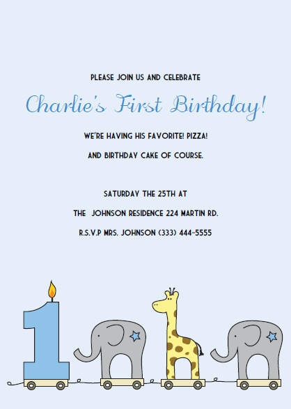 Printable 1st Birthday Invitations Elephant and Giraffe Invitation