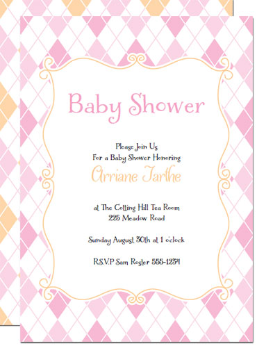 Printable Baby Shower Invitations Pink Argyle Invites