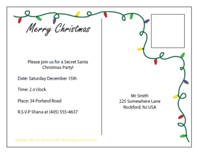 Printable Christmas Invitation Postcards - printable postcard template free