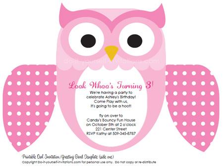 Printable DIY Kids Birthday Invitations Cute Owl Invites