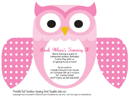 Printable DIY Kids Birthday Invitations Cute Owl Invites - kids birthday invites