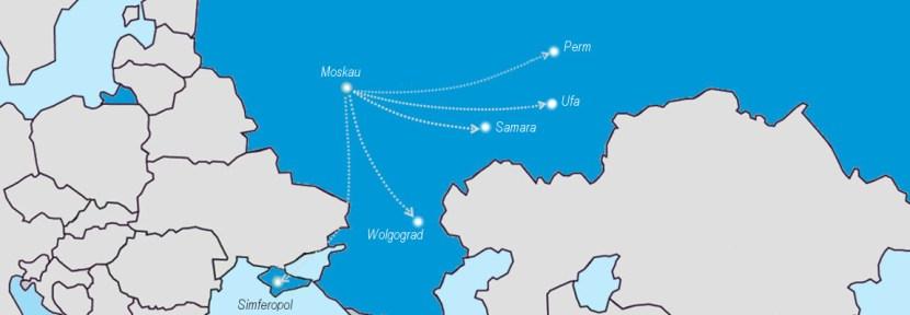 Dobrolet Flugnetz Juli 2014: Perm, Samara, Simferopol, Ufa, Wolgograd