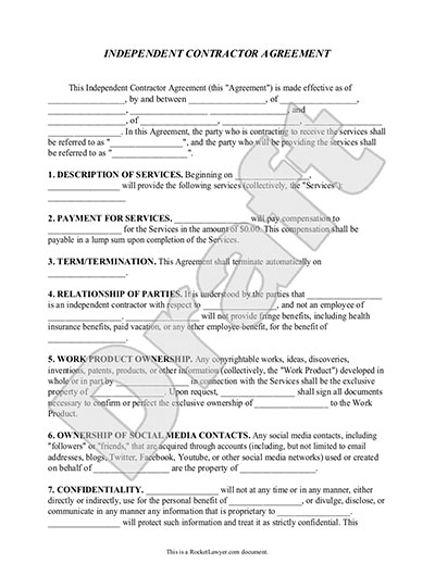 Agreement between Independent Contractor and Service ...