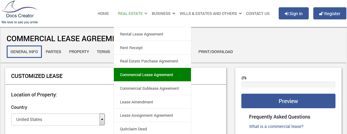 How to make a Commercial Lease Agreement - Online Legal Forms