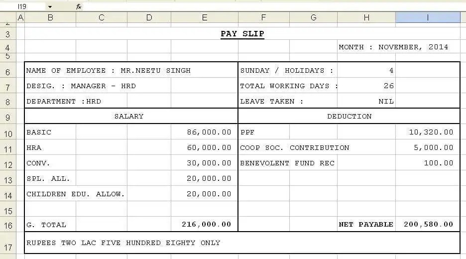 Top 5 Formats Of Salary Slip Templates - Word Templates, Excel - payslips download